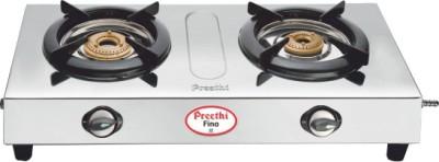 Preethi Blu Flame Fino Stainless Steel Manual Gas Stove(2 Burners)