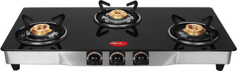 Pigeon Blackline Square Stainless Steel, Glass Automatic Gas Stove Blackline Square