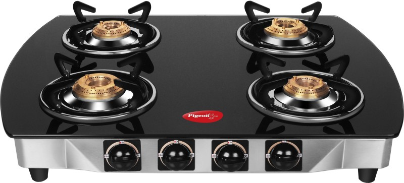 Pigeon Blackline Oval Stainless Steel, Glass Manual Gas Stove Blackline Oval