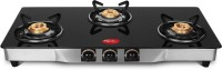 Pigeon Blackline Square Glass, Stainless Steel Manual Gas Stove(3 Burners)