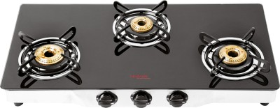 Hindware Armo Stainless Steel, Glass Manual Gas Stove(3 Burners)