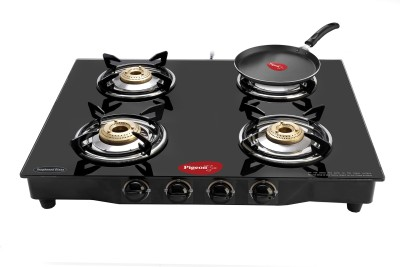 Pigeon Brass Square 4 Stainless Steel Manual Gas Stove(4 Burners) at flipkart