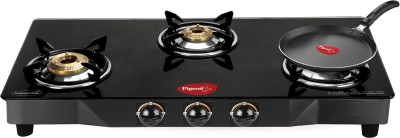 Pigeon Brass Square 3 Stainless Steel Manual Gas Stove(3 Burners) at flipkart