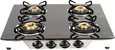 Hindware Armo Stainless Steel, Glass Automatic Gas Stove(4 Burners)