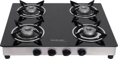 Hindware Neo Classic Stainless Steel, Glass Automatic Gas Stove(4 Burners)
