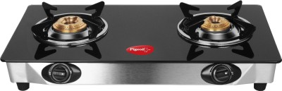 Pigeon Blackline Smart Stainless Steel, Glass Manual Gas Stove(2 Burners)