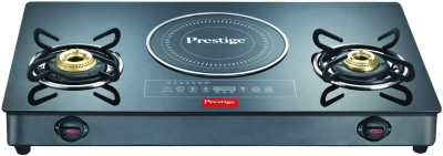 Prestige Hybrid Cook Top Stainless Steel, Glass Manual Gas Stove(2 Burners)