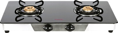 Hindware Armo Stainless Steel, Glass Manual Gas Stove(2 Burners)