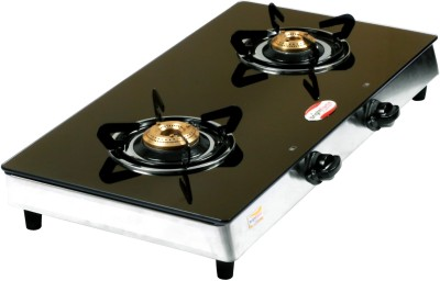 Bright Flame GT2BB Glass Manual Gas Stove(2 Burners)