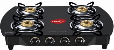 Pigeon Brass Oval Stainless Steel Manual Gas Stove(4 Burners) at flipkart
