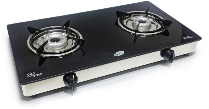 GLEN Stainless Steel, Glass Manual Gas Stove(2 Burners)
