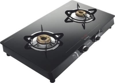 Preethi Blu Flame Gleam Glass Manual Gas Stove(2 Burners)