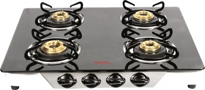 Hindware Armo Stainless Steel, Glass Manual Gas Stove(4 Burners)