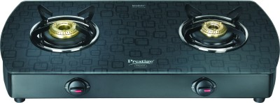 Prestige Premia Aluminium, Glass Manual Gas Stove(2 Burners)