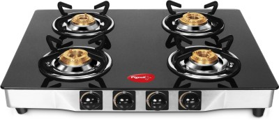 Pigeon Blackline Square Glass, Stainless Steel Manual Gas Stove(4 Burners)