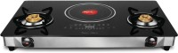 Pigeon Aspiro Rapido Hybrid Stainless Steel, Glass Manual Gas Stove(2 Burners)