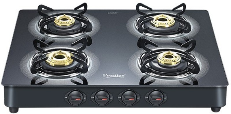 Prestige Royale LP Gas Table with Glass Top Aluminium, Glass Manual Gas Stove(4 Burners)