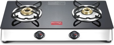 Prestige Marvel LP Gas Table with Glass Top Stainless Steel, Glass Manual Gas Stove(2 Burners)
