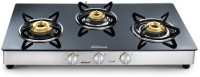 Sunflame Crystal Stainless Steel, Glass Manual Gas Stove(3 Burners)