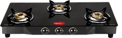 Pigeon Brass Square Stainless Steel Manual Gas Stove(3 Burners) at flipkart