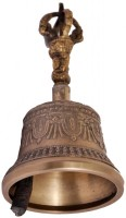 Indigo Creatives Buddhist Style Ornate Great Sound Diwali Puja Bell. Brass(Silver, Pack of 1)