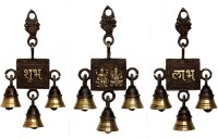 Aesthetic Decors Welcome Brass Pooja Bell(Gold, Brown, Pack of 3)