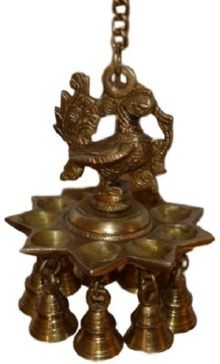 POOJA GHAR HANGING BELL CUM MOR DIYA Brass Pooja Bell