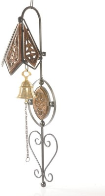 Zuniq Old Fashioned Bell Chime Hanging Wooden, Cast Iron Decorative Bell