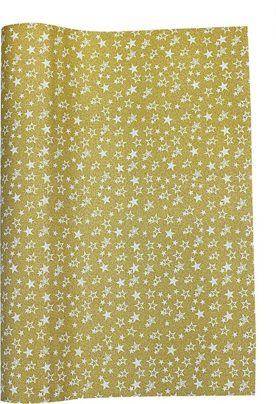 Paper Exim FSP Five-Pointed Star Pattern Pp/Pvc Gift Wrapper(Gold,Silver)
