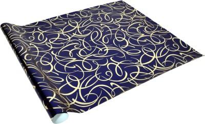 Star Metallic Blue ,n Golden Criss-Cross Pattern Italian Paper Gift Wrapper