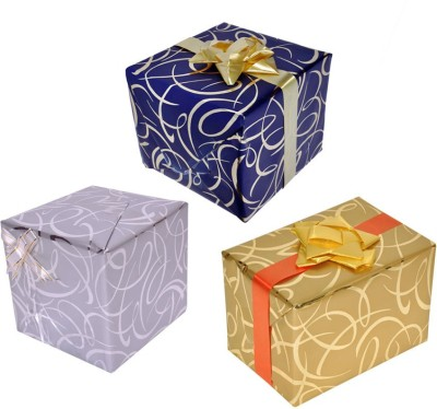 Star Criss Cross Combo Metallic Italian Paper Gift Wrapper(Multicolor)