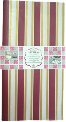 Hargan Gift Wrap Maroone & Gold Strip 100% Paper Gift Wrapper