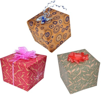 Star Brown Jacquard Combo Italian Paper Gift Wrapper