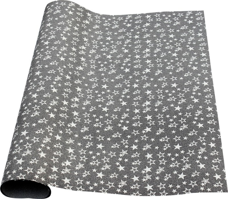 Paper Exim FSP Five-Pointed Star Pattern pp/pvc Gift Wrapper(Black, Silver)