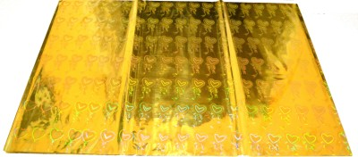Pin to Pen Gift Wrapping Holographic Sheet 17 Inch Yellow Heart Plastic Gift Wrapper(Yellow)