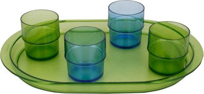 Tupperware Glass Set(250 ml, 250 ml, 250 ml, 250 ml, Green, Blue, Pack of 5)