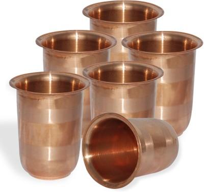 Dakshcraft Handmade Small Pure Copper Tumbler Glass, Set of 6 Glass Set(248 ml, Gold, Pack of 6) at flipkart