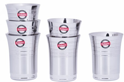 Embassy Stainless Steel Glass(300 ml, Steel, Pack of 6)