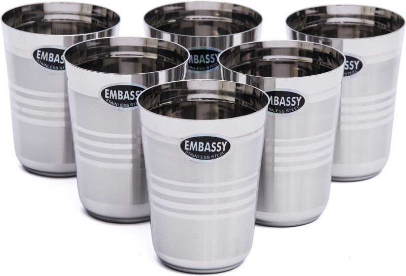 Embassy Stainless Steel Glass(275 ml, Steel, Pack of 6)