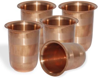 Dakshcraft Handmade Small Pure Copper Tumbler Glass, Set of 5 Glass Set(248 ml, Gold, Pack of 5) at flipkart
