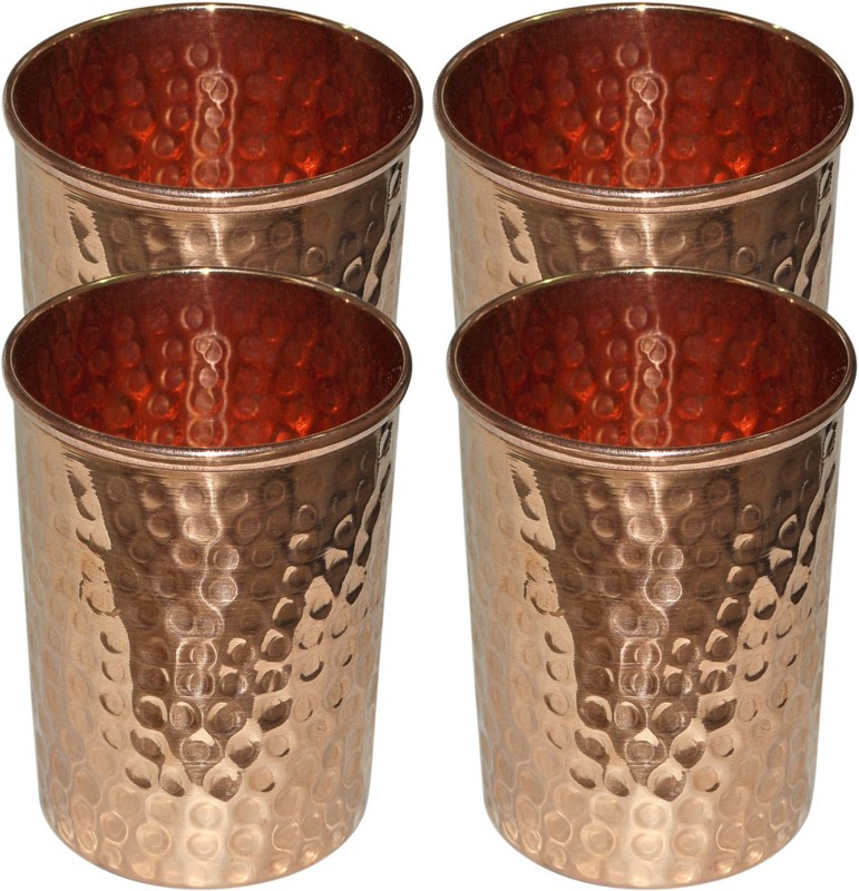 Dakshcraft Handmade Pure Copper Hammered Tumbler Glass,Set of 4 Glasses Glass Set(298 ml, Gold, Pack of 4)