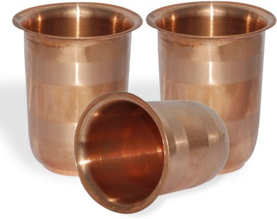Dakshcraft Dakshcraft Handmade Small Pure Copper Tumbler Glass, Set of 3 Glass Set(248 ml, Gold, Pack of 3) at flipkart