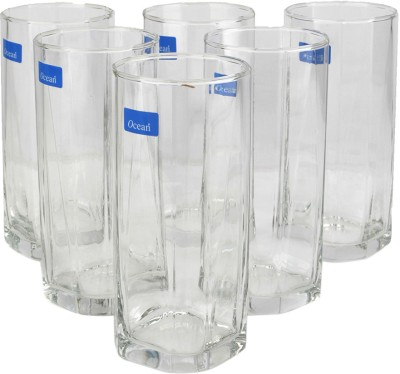 Ocean Pyramid Hi-ball Tumbler Glass Set(380 ml, Clear, Pack of 6)