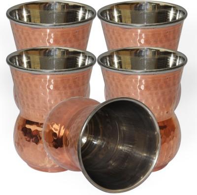 Dakshcraft Handmade Copper Tumbler Drinkware Accessories, Set of 5 DS129