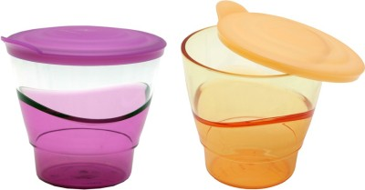 Tupperware Glass(250 ml, Purple, Orange, Pack of 2)