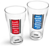 Happily Unmarried Glass Set(350 ml, White, Pack of 2)