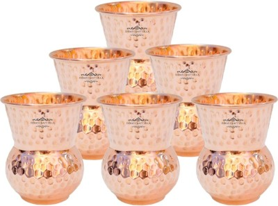 IndianCraftVilla Glass Set(375 ml, Brown, Pack of 6)