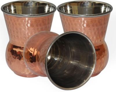 Dakshcraft Handmade Copper Tumbler Drinkware Accessories, Set of 3 DS127