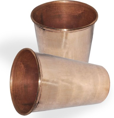 Dakshcraft Pure Copper Handmade Tumbler Glass Drinkware Accessory, Set of 2 Glass Set(337 ml, Gold, Pack of 2) at flipkart