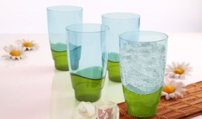 Tupperware Glass(475 ml, Green, Pack of 4)